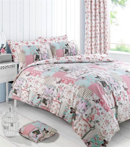 BIRD BUTTERFLY FLORAL PATCHWORK DOUBLE DUVET COVER