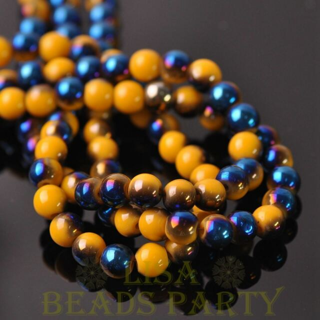 New 100pcs 6mm Round Glass Loose Spacer Beads Porcelain Yellow Half Blue