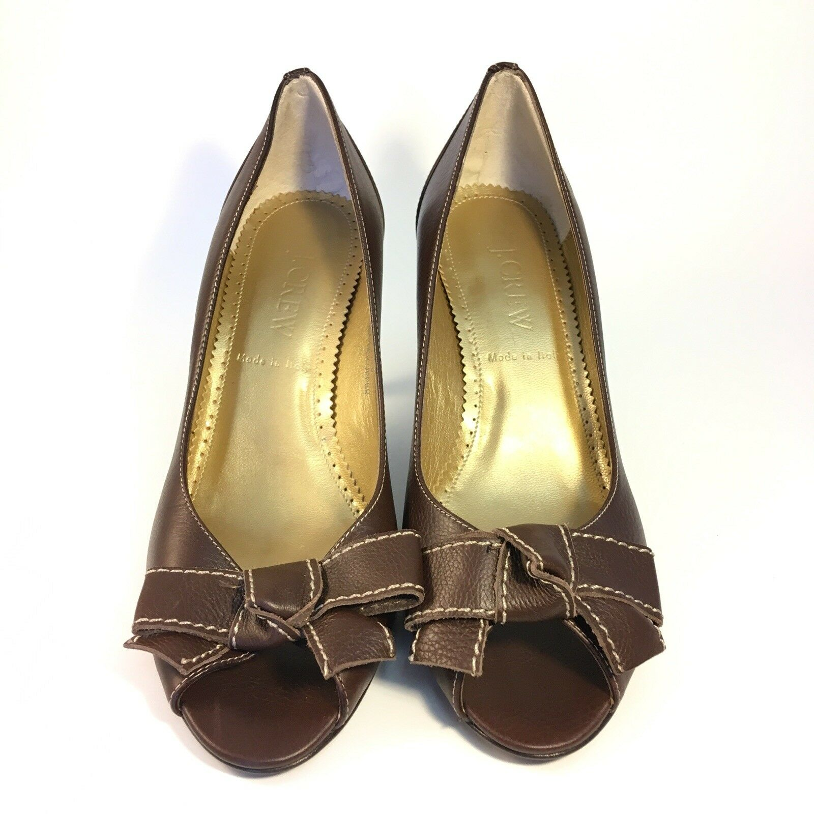 J. crew 6.5 Peep Toe Heels marron Bow Made In  Leather Retro 40's 50's Pumps
