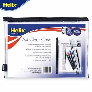 Helix-A4-Pencil-Case-Document-Wallet-Crystal-Clear-Perfect-for-Exam-use