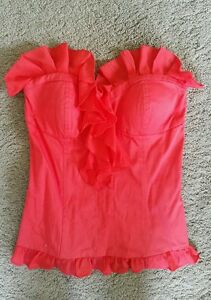 Bardot-red-ruffled-bustier-sz8-preowned-free-post-D25