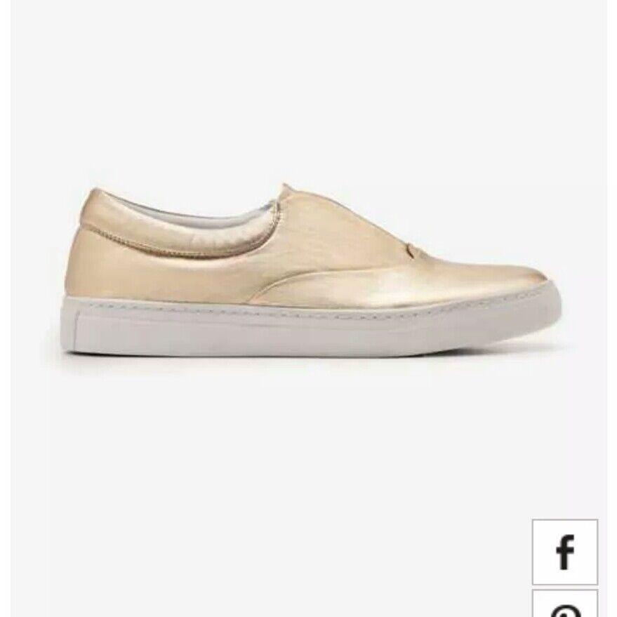 Boden golden Metallic Slip On Trainers Ladies Size
