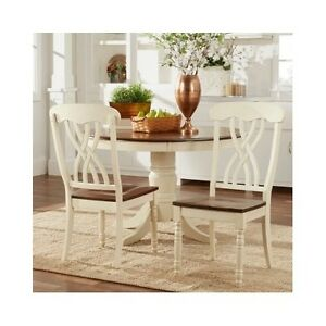 Details about 2 Antique White Side Chairs Chic French Country Kitchen  Dining Room Seating