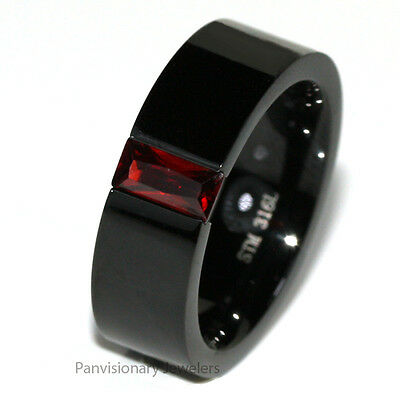 Stainless Steel Ring Black Squared Band Garnet Red Emerald Cut Floating CZ