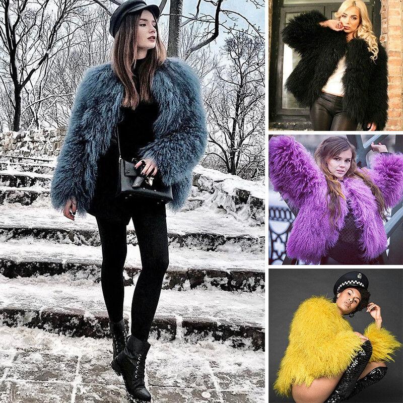 2017 Mujeres Abrigo De Piel De  Cordero Real mongol corto Furry ocio Pure Bata blancoa  saludable