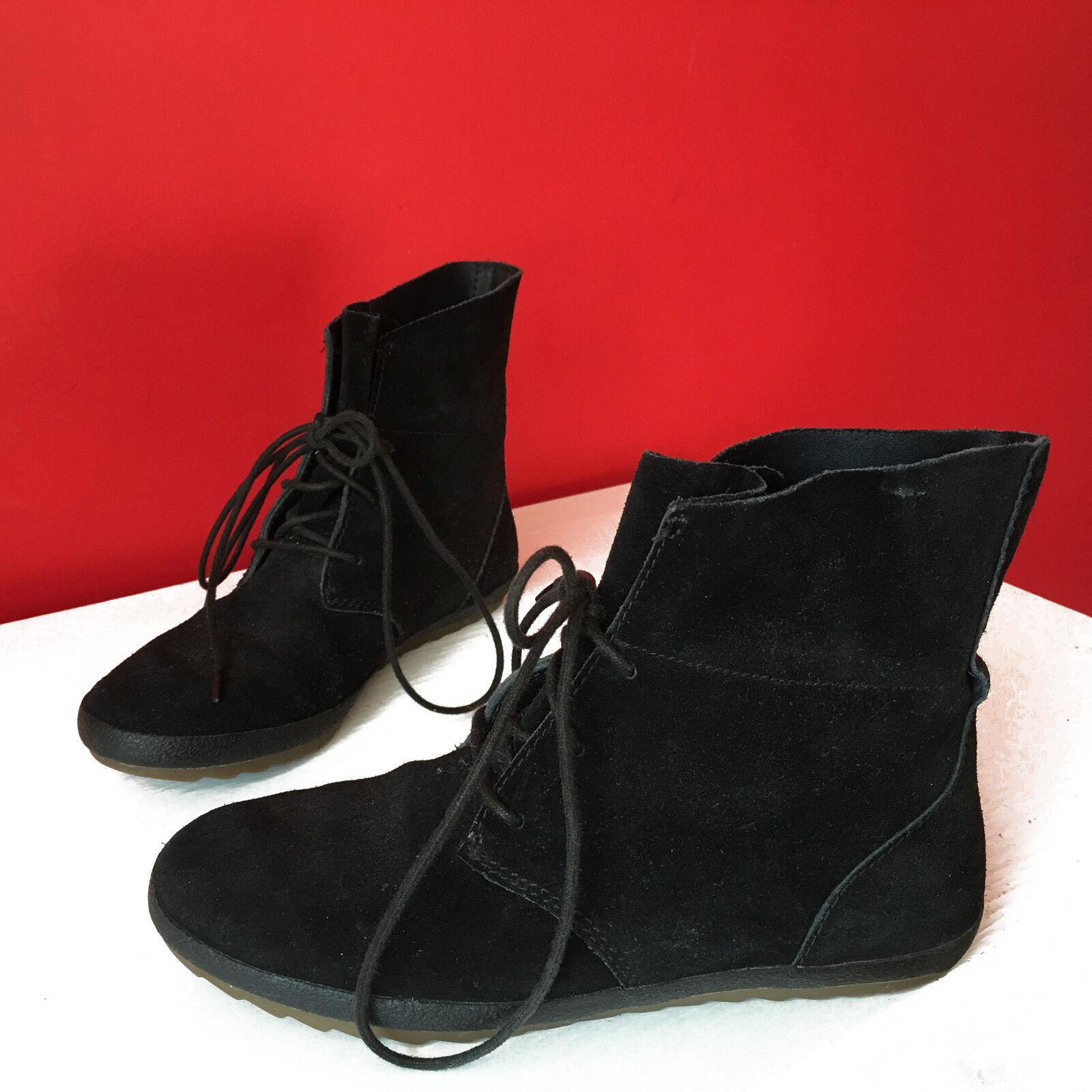 Clarks Black Leather Suede Lace Up Flat Heel Boots Size UK 3 D EUR 36