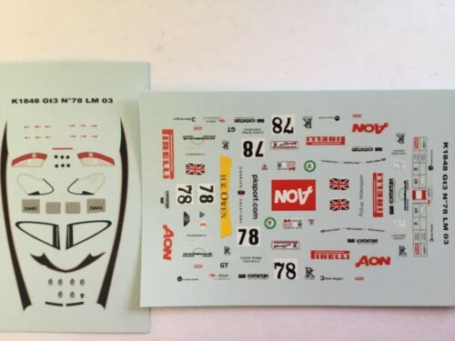 Porsche 911//996 GT3 #78 Aon//Pirelli Lidell//Masarati//Warnock LM2003 1//43 Decal