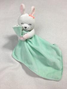 Carters-White-Plush-Bunny-Rabbit-Mint-Aqua-Security-Blanket-Rattle-Orange-Bow
