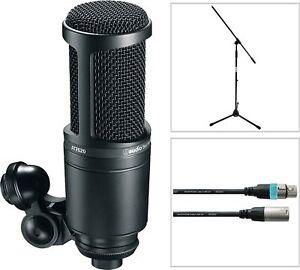 Audio-Technica-AT-2020-Studio-Kondensator-Mikrofon-SET-mit-Mikro-Stativ-Kabel