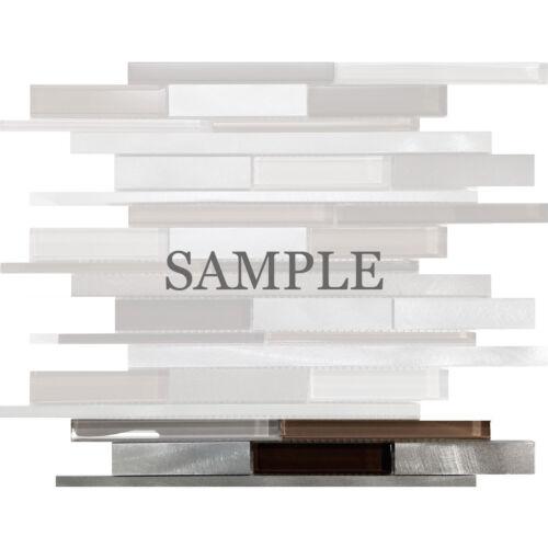 Brown Interlocking Pattern Glass Metal Mosaic Tile Kitchen shower backsplash