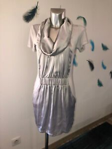 luxueuse-robe-drapee-satin-argente-S-039-NOB-de-NOBLESSE-taille-M-NEUVE-105