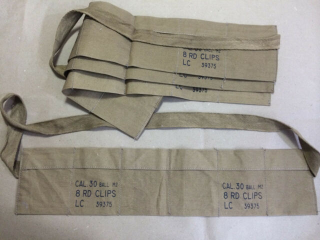 WWII US Army Cloth Bandolier for M1 Garand (Reproduction) X 10 UNITS (PCS)