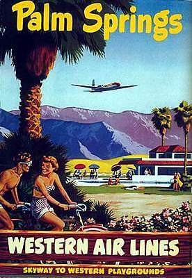 Old Palm Springs 22x30 Mid-century modern Palm Springs California Art Print