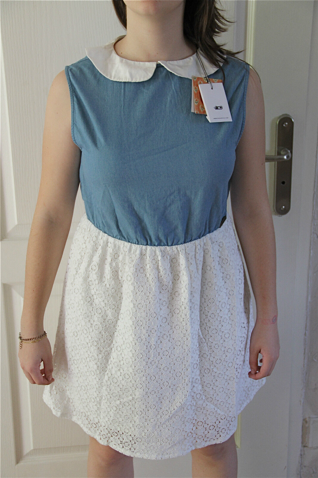 Kleid Baumwoll-Spitze Kanabeach Albertine T 38 Etikett Wert