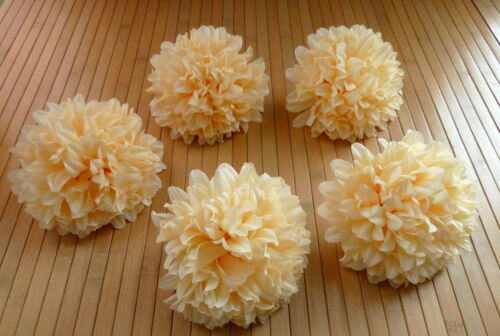 Seidenblumen 5  x Chrysanthemen champagner Blumenköpfe  Kunstblumen