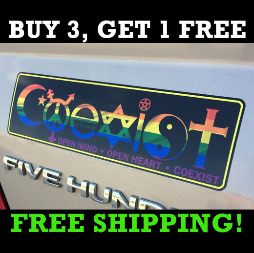 Coexist Bumper Sticker Symbols Peace Transgender Evolution Harmony