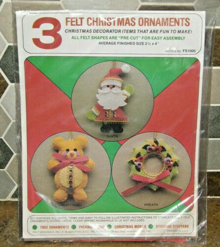 NOS Vintage Felt Originals Sequin Applique Christmas Ornament 3 Piece Craft Kit