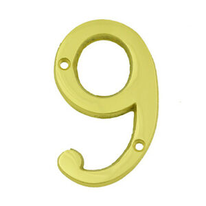 3 Inch Bright Brass 9 House Numbers Home Address Plaque
