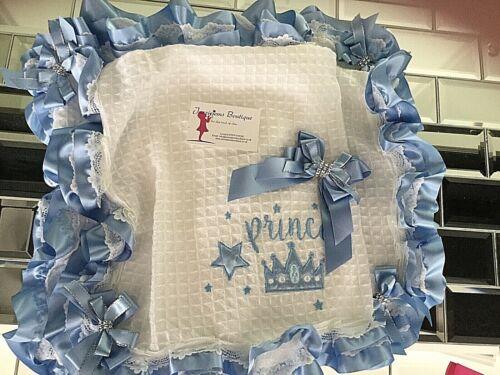 BLUE PRINCE TUTU RUFFLE SHAWL PRAM COT BABY BLANKET WRAP JAZZIEJEMS BOUTIQUE ❤️