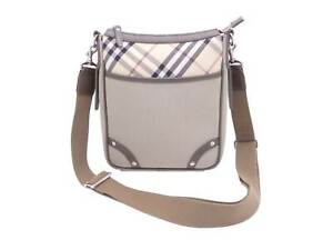 Auth BURBERRY Check Crossbody Shoulder Bag Light Khaki Canvas/Leather - e46448d