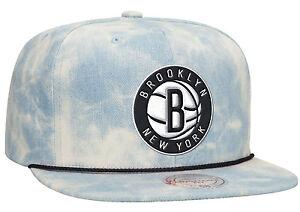 7846368a000 Brooklyn Nets LITE ACID WASH DENIM SNAPBACK Mitchell   Ness NBA Hat ...