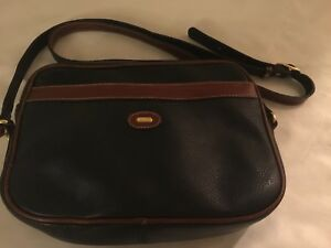 577afe0b842f Vintage BALLY Brown   Navy Blue Leather Small Crossbody Bag Made in ...