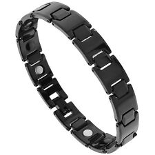 "8"" Tungsten Carbide Black Magnetic Bracelet, Faceted Hexagon Links"