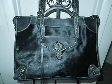 Cavalcanti Made in Italy XL Black Haircalf and Leather Handbag Tote MSRP $400+