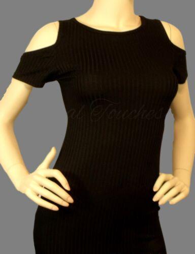 Sex Black ribbed cold shoulder open shoulder round neck short sleeve dress