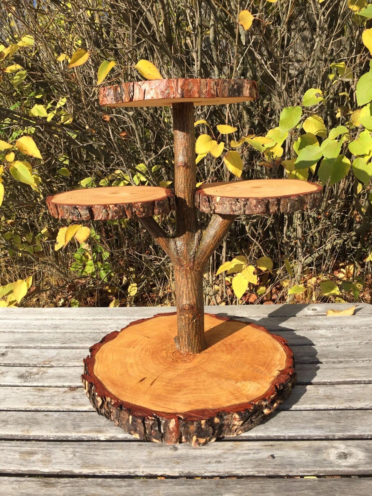 Pine Log Wood Rustic Cake Pie 40 Cupcake Stand Wedding party shower 4 tierot