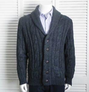 19f36ca31d67 NEW Mens SIZE XL ALPACA Dark Gray Shawl Collar Knit Cable Cardigan ...