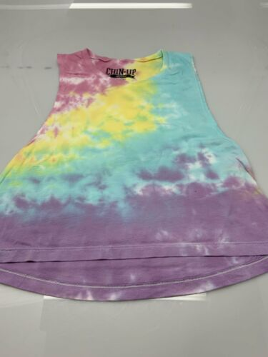 Womens Juniors Chin Up Tie Dye Rainbow Muscle Tank Top