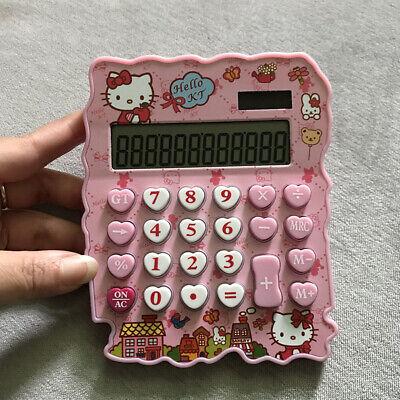 Cute Rhinestone Crystal Hello Kitty Calculator 12 Digits Stationery Office Solar
