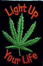 Weed Iron On Patch denim jacket cannabis joint light up smoking rasta tobacco