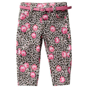 Baby-Girls-BNWT-Leopard-Neon-Floral-Rose-Stretch-Pants-Jeans-amp-Belt-Size-6-24-M