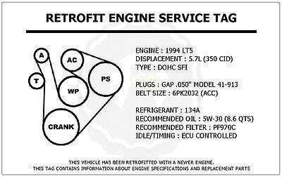 lt5 engine diagram 1994 lt5 5 7l corvette retrofit engine service tag belt routing  1994 lt5 5 7l corvette retrofit engine