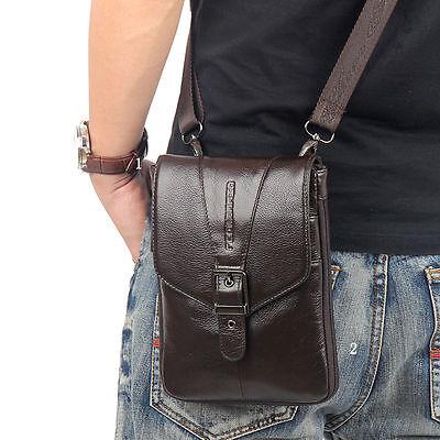 Men Genuine Leather Hook Belt Waist Pack Purse Crossbody Messenger Shoulder Bag