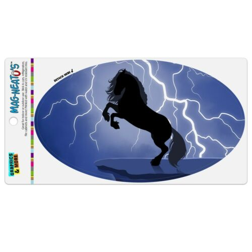 Black Friesian Horse Rearing Up in Storm Car Euro Oval Magnet