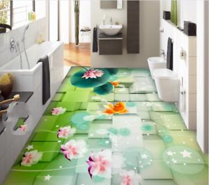3D Cube Lotus Fish 784 Floor WallPaper Murals Wall Print Decal AJ WALLPAPER US