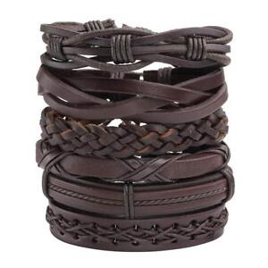 Details About 6pcs Men Women Brown Braided Leather Bracelet For Cuff Wrap Wristband Set Gift