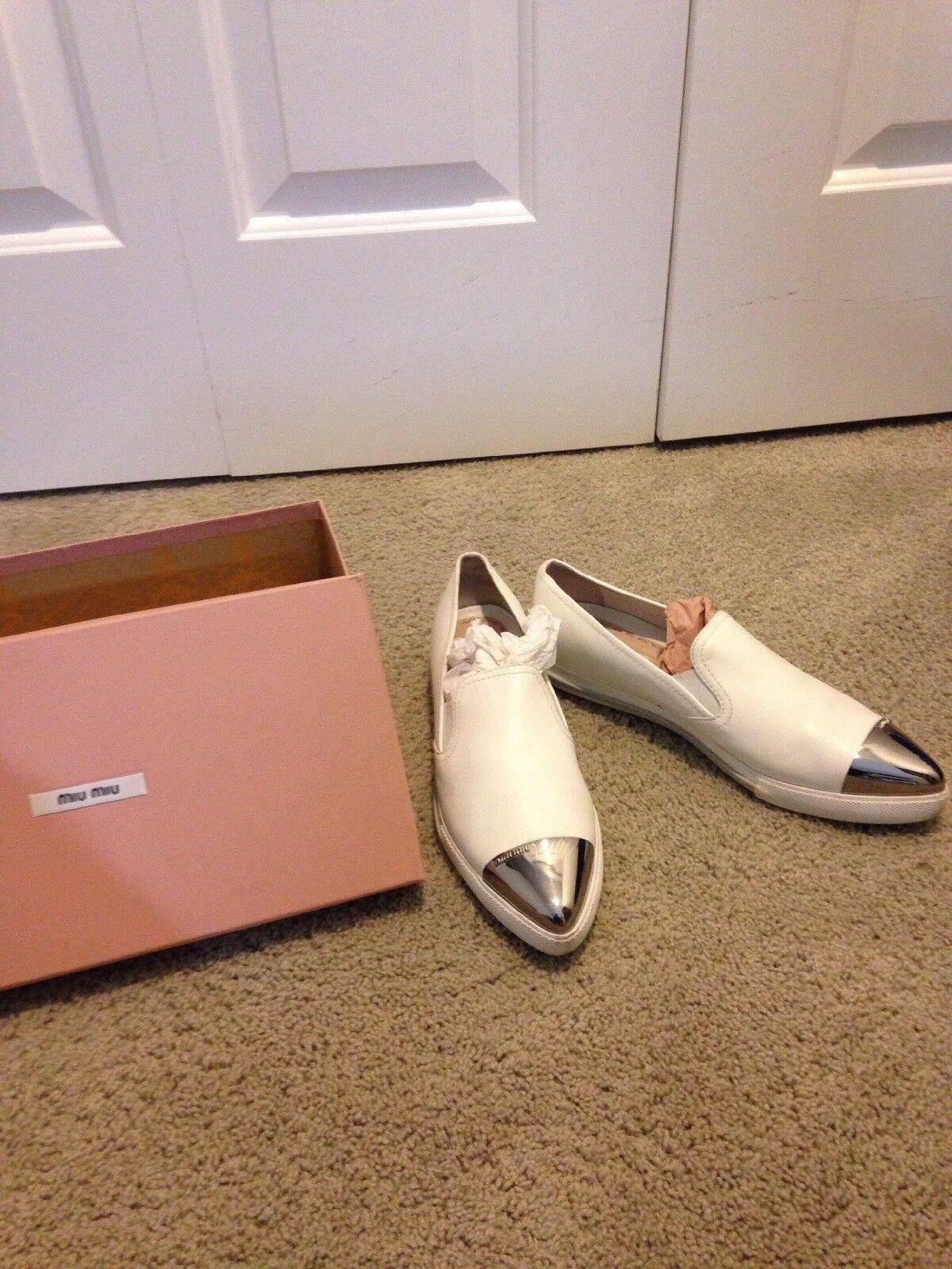 Miu Miu Nappa 3 Calzature women Women's shoes White Flats With Box