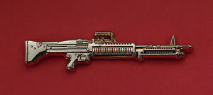 GENERAL PURPOSE MACHINE GUN M-60 GPMG - M60 BADGE 60MM GOLD PLATED WITH 2 PINS