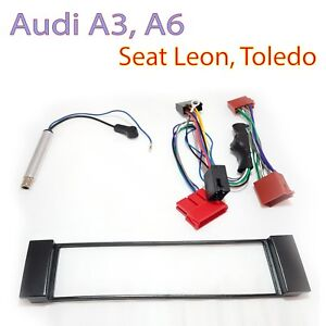 Radioblende-Set-fuer-AUDI-A3-8L-A6-C5-4B-SEAT-Toledo-Leon-Aktivsystem-Adapter-ISO