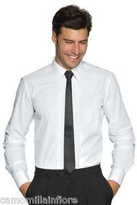 Camicia-Uomo-Ragazzo-Avvitata-Slim-Bianca-Ottimo-Tessuto-Elasticizzato-Size-M