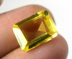 Loose Gemstone 8.70 Ct Yellow Sapphire Natural Emerald Cut AGI Certified A25805