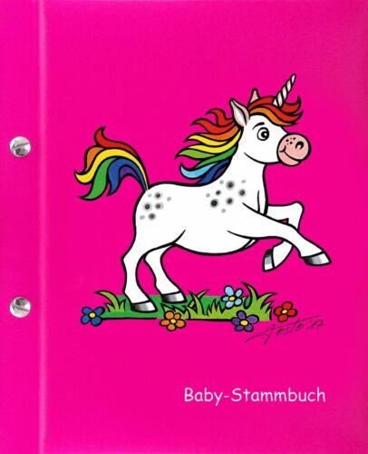 Geschenk zur Geburt Baby-Stammbuch EINHORN Mädchen pink Unterlagen für Baby