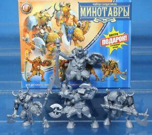 4 Fantasy Figures Minotaurs Toy Soldiers 54 mm Tehnolog Fantasy Battles