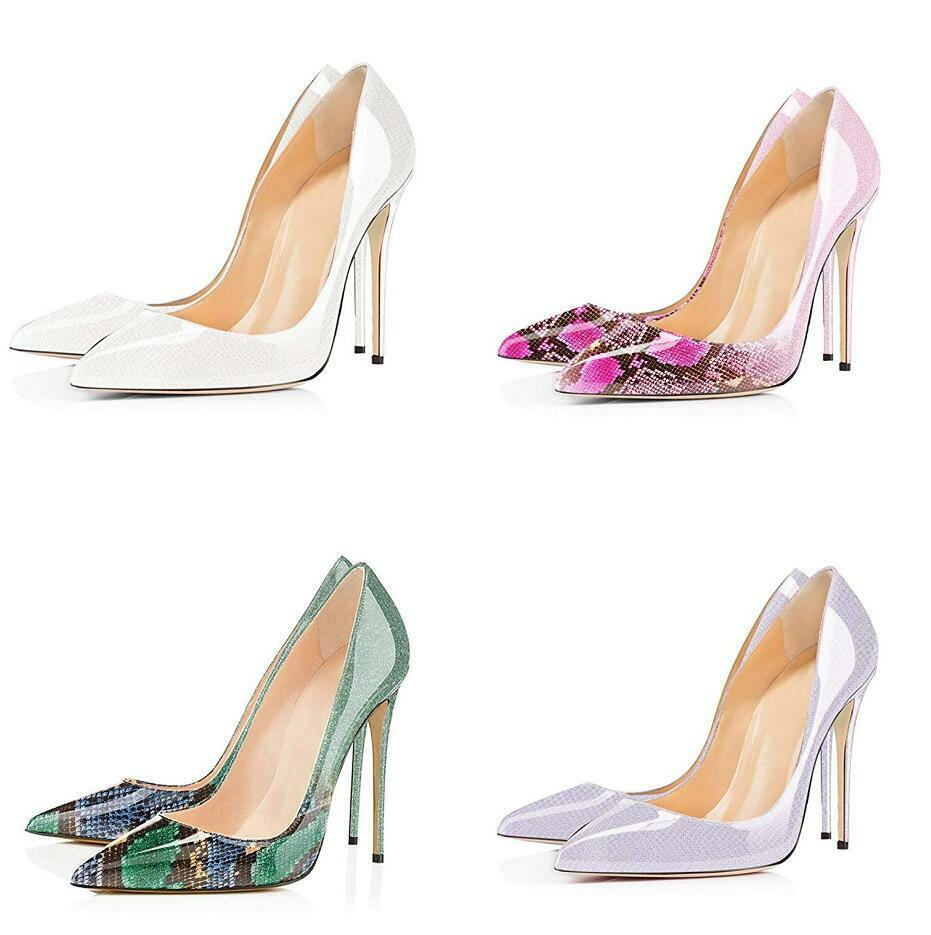 Occident donna Stiletto High Heels Pull On Patent Leather scarpe Point Toe Causal