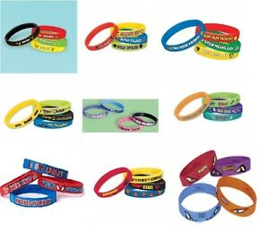 Caoutchouc-Bracelets-Bandes-de-Poignet-Lot-4-Cadeau-Fete-Cadeaux-Variete