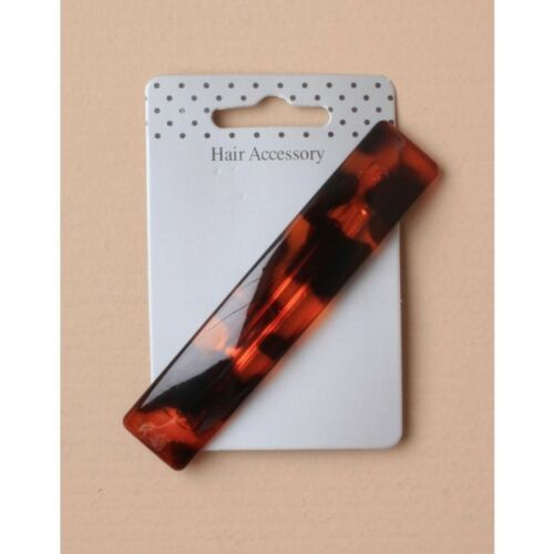 NEW 10cm rectangle plastic brown animal print barrette hair clip womens fashion